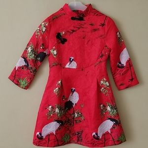 Red Oriental Style Cranes Dress